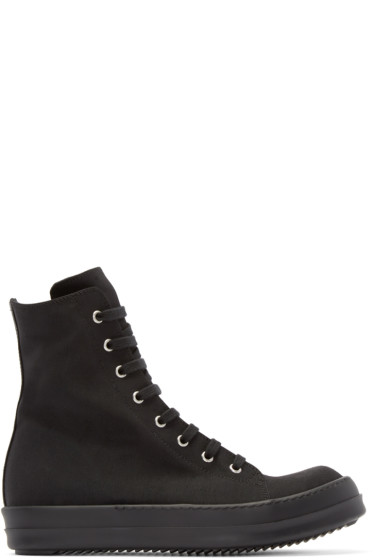 Rick Owens Drkshdw - Black Canvas High-Top Sneakers