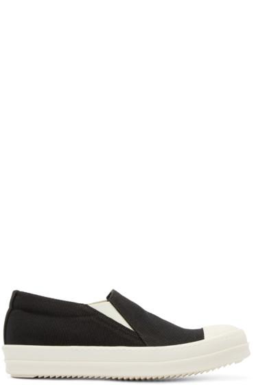Rick Owens Drkshdw - Black Canvas Boat Slip-On Sneakers