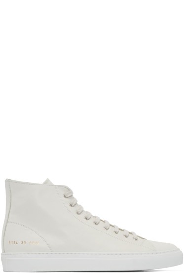 Common Projects - White Tournament High-Top Sneakers