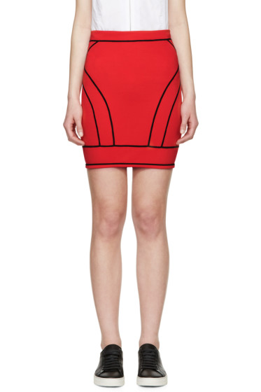 Dsquared2 - Red Knit Curved Panel Skirt