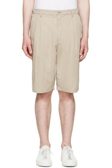 Helmut Lang - Beige Pleated Trouser Shorts