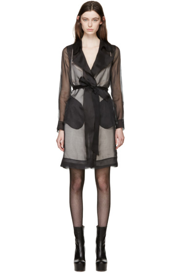 Maison Margiela - Black Silk Organza Trench Coat