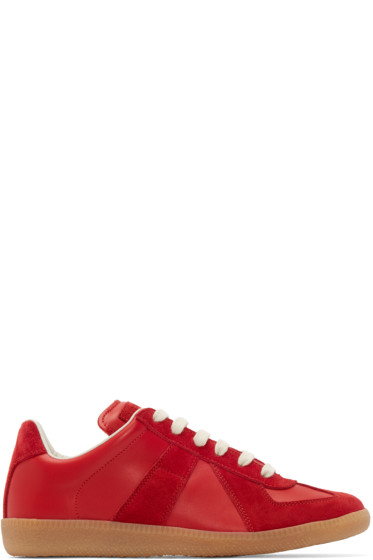 Maison Margiela - Red Leather & Suede Replica Sneakers