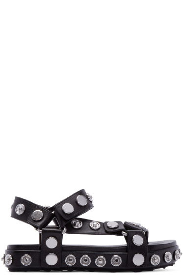 Alexander Wang - Black & Silver Leather Aiden Sandals