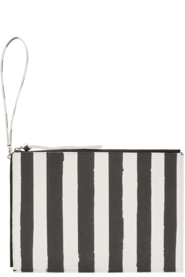 MM6 Maison Margiela - Black & White Striped Pouch