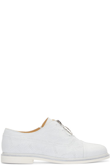 MM6 Maison Margiela - White Leather Zip-Front Oxfords