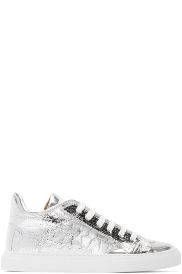MM6 Maison Margiela - Silver Snake Embossed Foil Sneakers