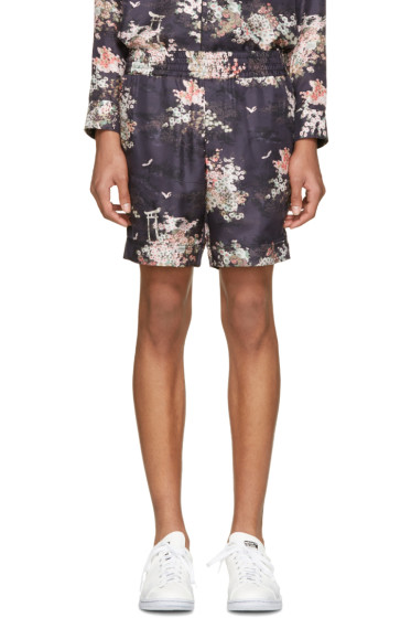 Marc Jacobs - Navy Silk Japanese Shorts