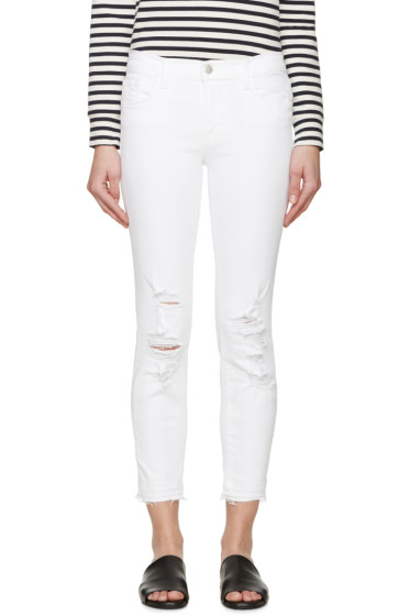 J Brand - White Distressed Cropped Jeans
