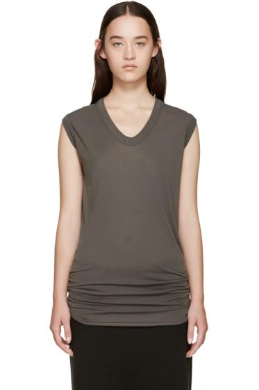 Rick Owens - Grey Sleeveless V-Neck T-Shirt