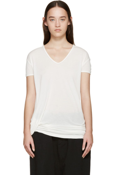 Rick Owens - White Hiked V-Neck T-Shirt