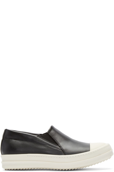 Rick Owens - Black Leather Boat Sneakers