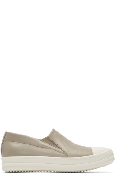 Rick Owens - Taupe Leather Boat Sneakers