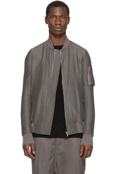 Rick Owens - Grey Silk Flight Bomber Jacket