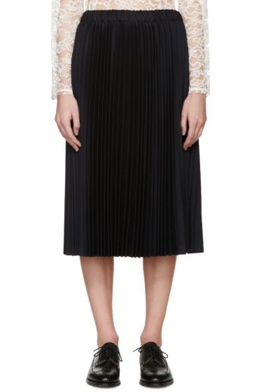 Comme des Garçons - Navy Wool Pleated Skirt