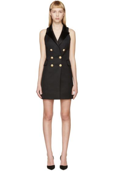 Balmain - Black Peaked Lapel Dress