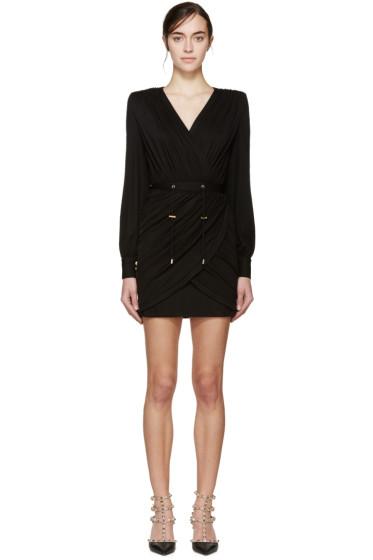 Balmain - Black Draped Dress