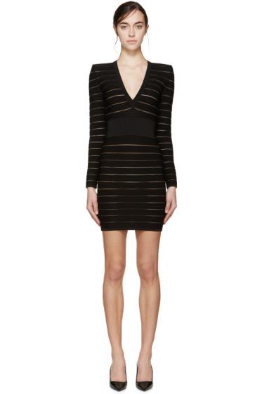 Balmain - Black Deep V Bandage Dress