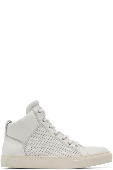 Balmain - White Leather Perforated Mid-Top Sneakers