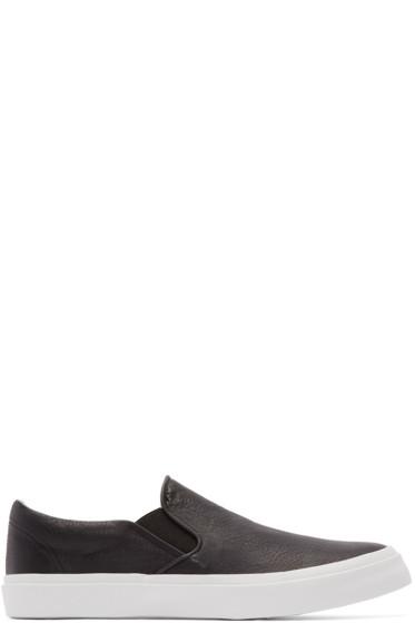 Junya Watanabe - Black Leather Slip-On Sneakers