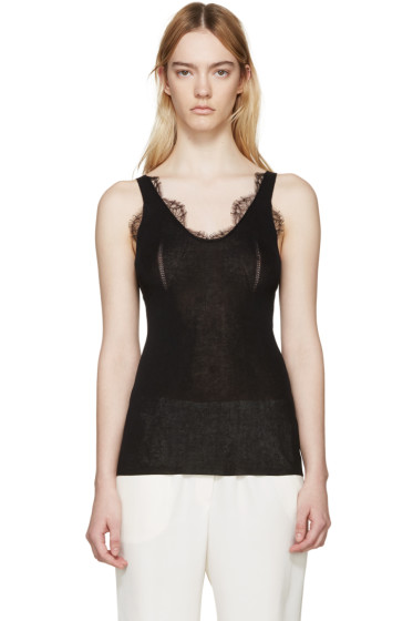 Lanvin - Black Knit Lace Tank Top