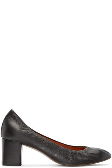 Lanvin - Black Leather Ballerina Heels
