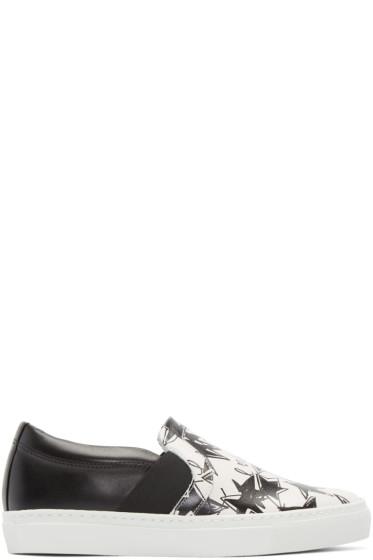 Lanvin - Black & White Star Slip-On Sneakers
