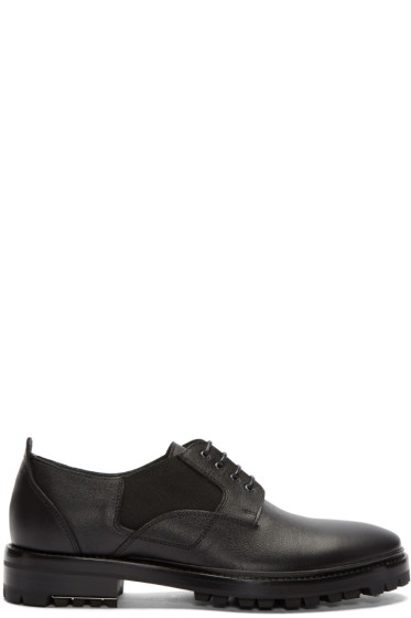 Lanvin - Black Grained Leather Derbys