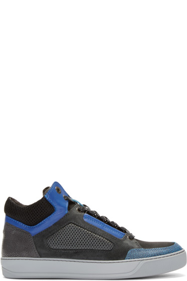 Lanvin - Tricolor Leather & Mesh Mid-Top Sneakers
