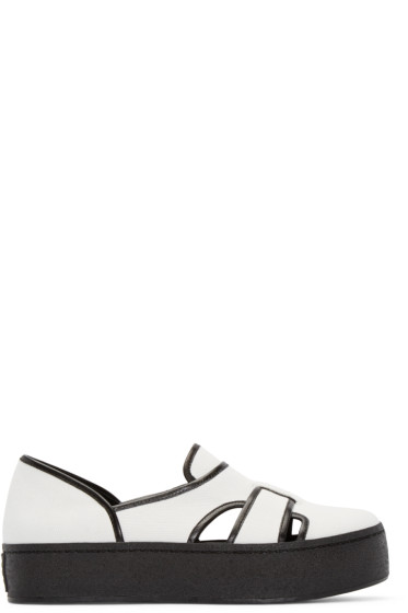 Opening Ceremony - White & Black Binx Slip-On Sneakers
