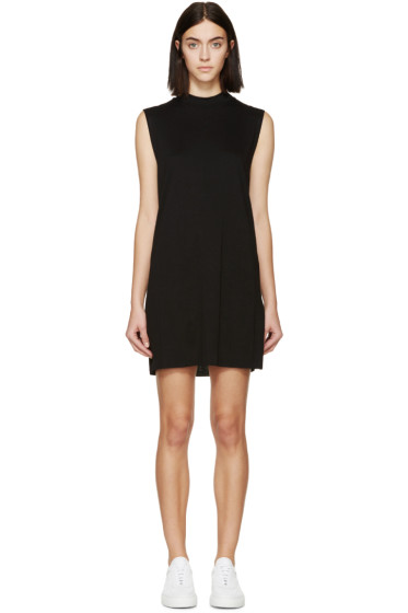 Raquel Allegra - Black Jersey Mock Neck Tunic Dress