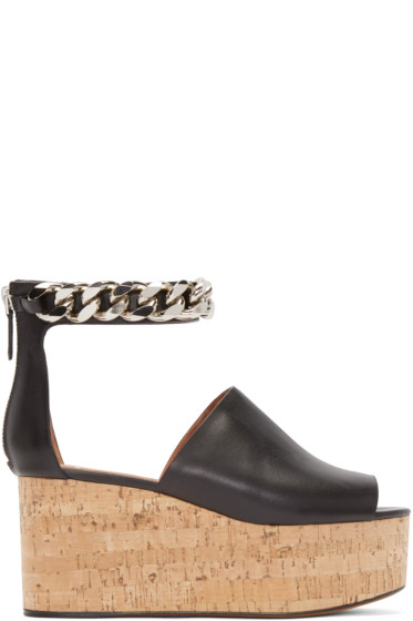 Givenchy - Black Leather Cork Wedge Sandal