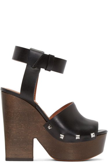 Givenchy - Black Leather Sofia Sandals