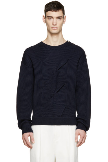 3.1 Phillip Lim - Navy Ribbed Military Sweater