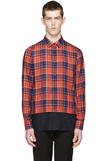 Raf Simons - Red & Navy Layered Check Shirt