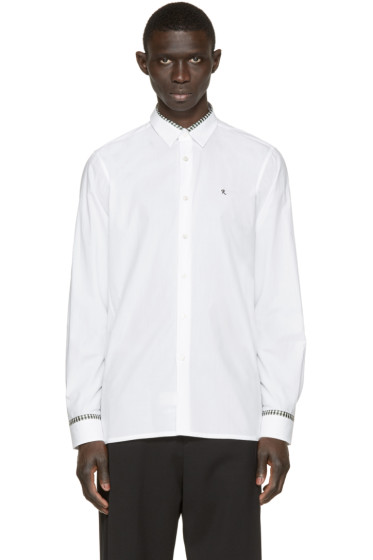 Raf Simons - White Plaid Trim Logo Shirt