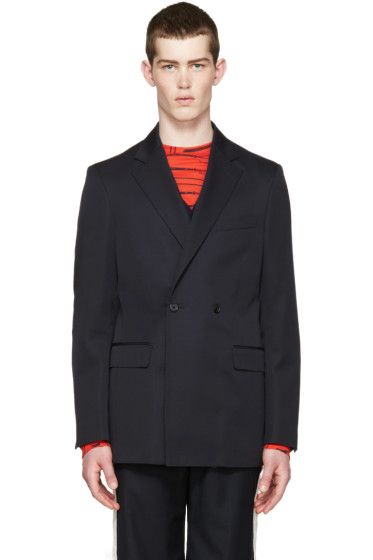 Raf Simons - Navy Wool Double-Breasted Blazer