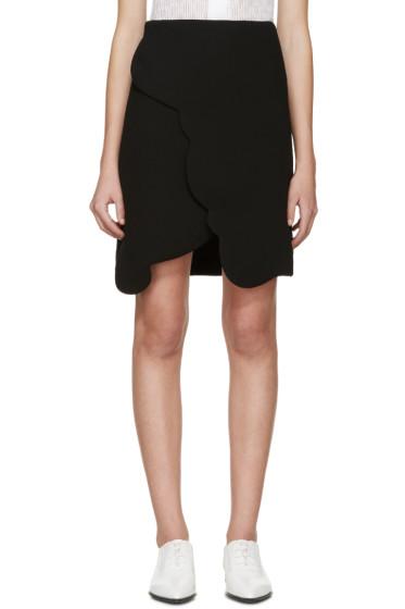 Carven - Black Scalloped Wrap Miniskirt