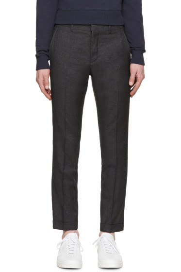 Carven - Grey Wool Broken Check Trousers
