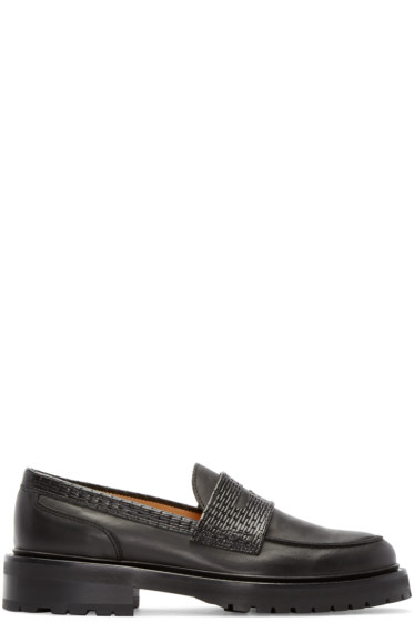 Carven - Black Woven Leather Penny Loafers
