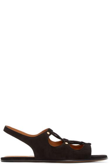 Chloé - Black Suede Lace-Up Sandals