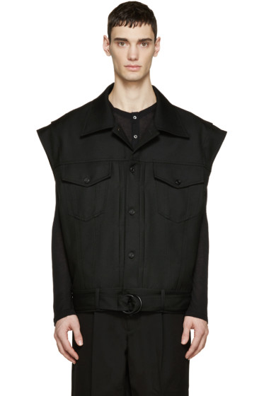 Juun.J - Black Oversized Denim Vest