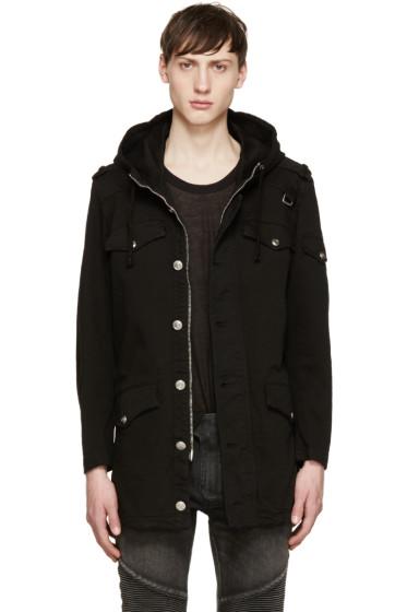 Pierre Balmain - Black Hooded Twill Jacket