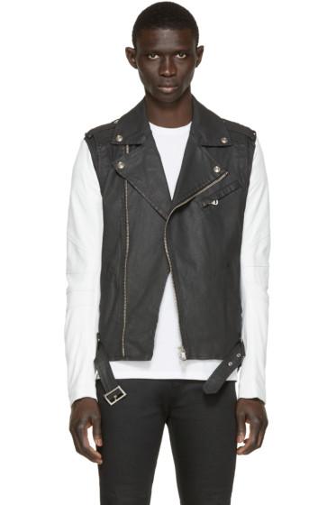 Pierre Balmain - Black Denim & Leather Biker Jacket