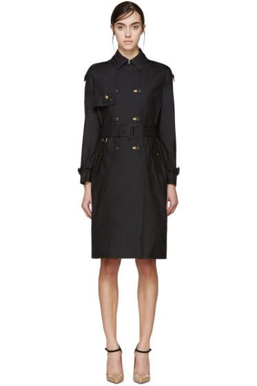 Burberry Prorsum - Black Silk Poplin Trench Coat