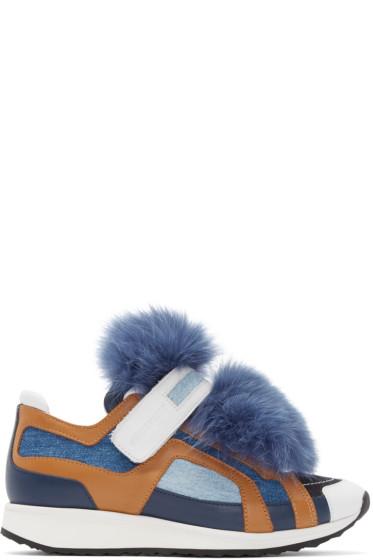 Pierre Hardy - Blue Fur Accent Sneakers