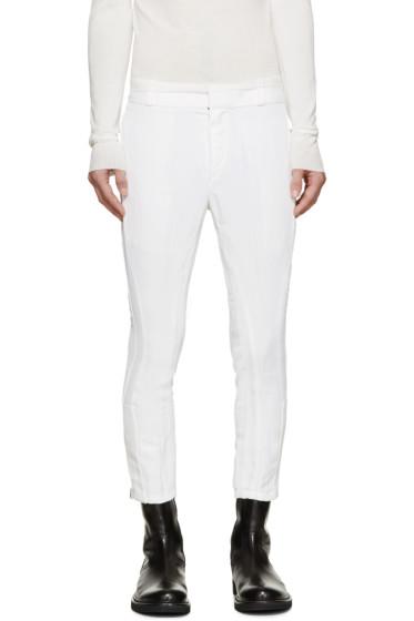 Ann Demeulemeester - White Biker Keating Trousers