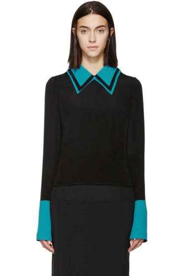 Roksanda - Black & Turquoise Silk Cady Blouse