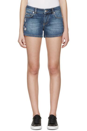 Versus - Indigo Denim Patches Shorts