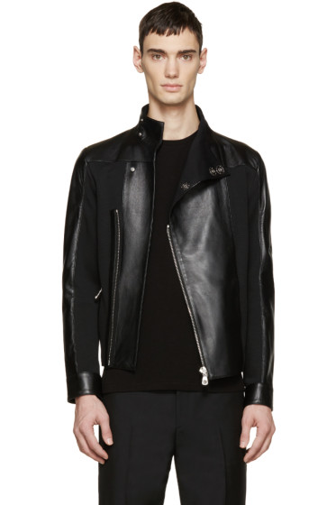 Versus - Black Leather Panelled Jacket
